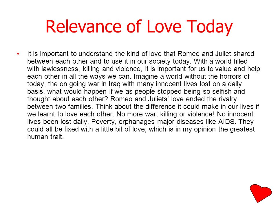 Relevance of Love Today