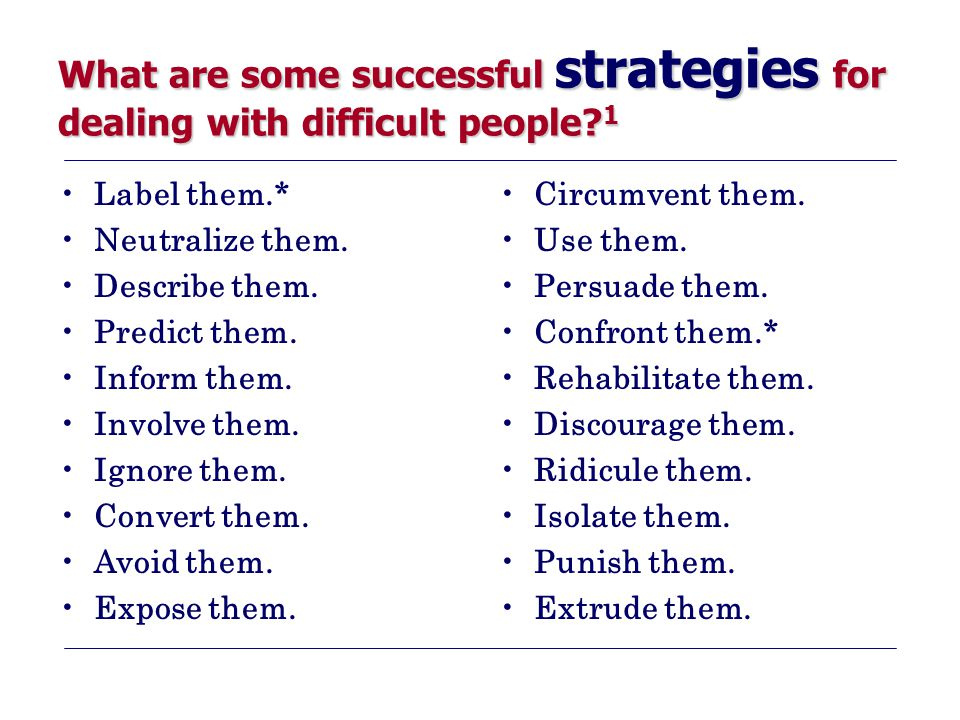 What are some successful strategies for dealing with difficult people