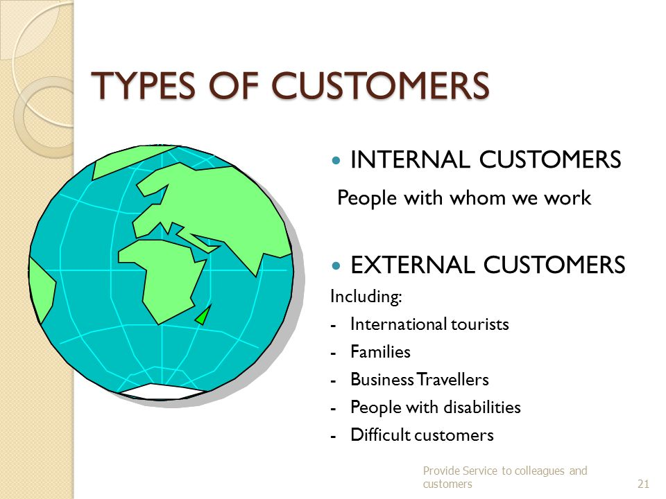TYPES OF CUSTOMERS INTERNAL CUSTOMERS People with whom we work