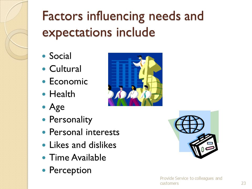 Factors influencing needs and expectations include