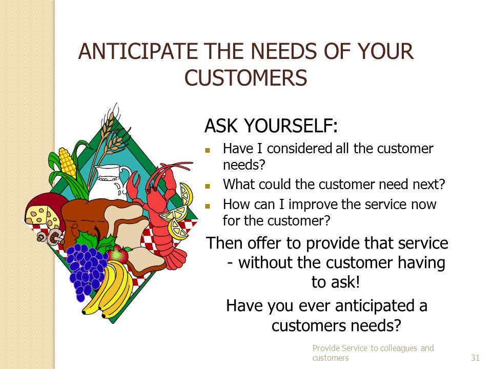 ANTICIPATE THE NEEDS OF YOUR CUSTOMERS