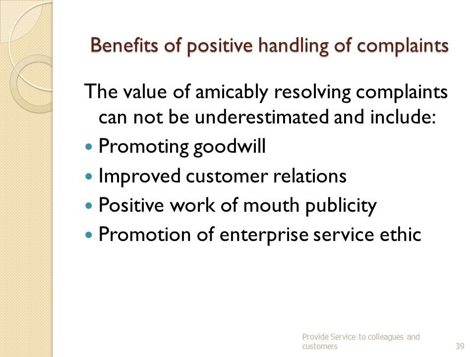Benefits of positive handling of complaints