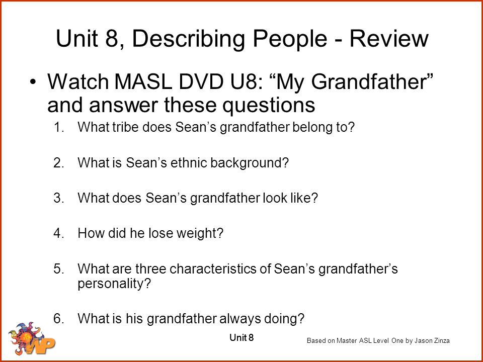 Unit 8, Describing People - Review
