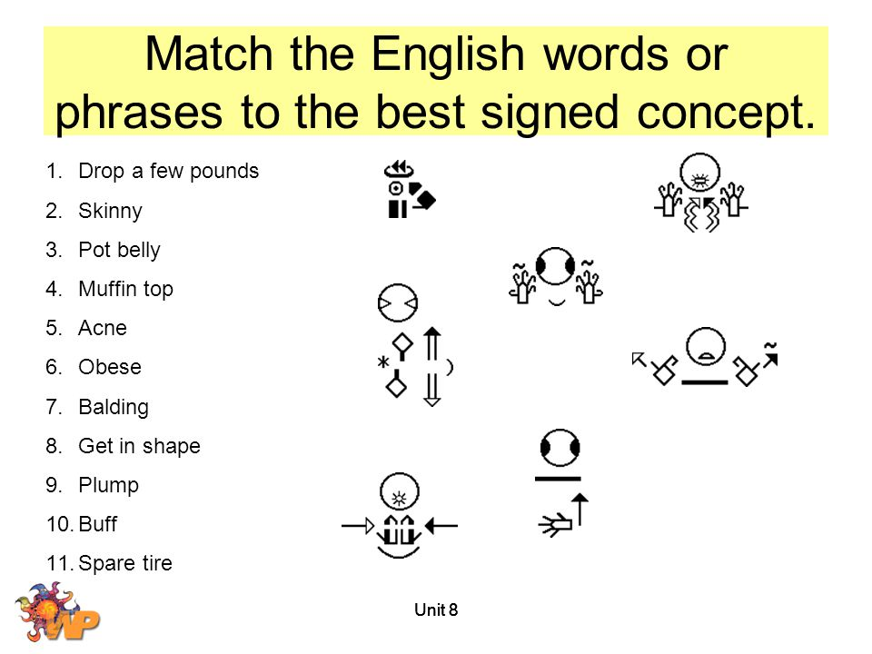 Match the English words or phrases to the best signed concept.