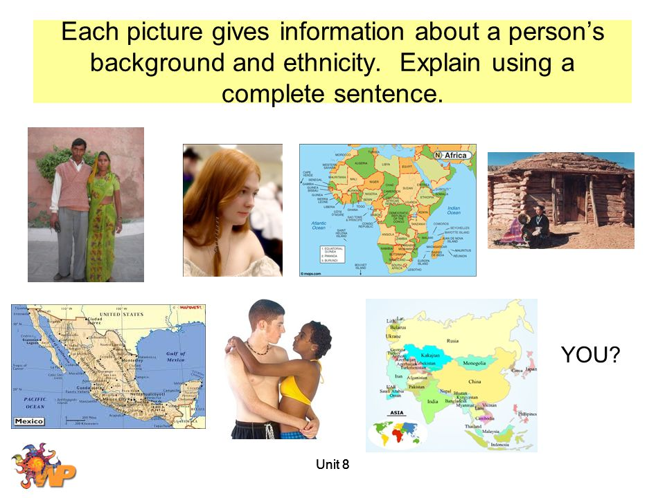 Each picture gives information about a person's background and ethnicity. Explain using a complete sentence.
