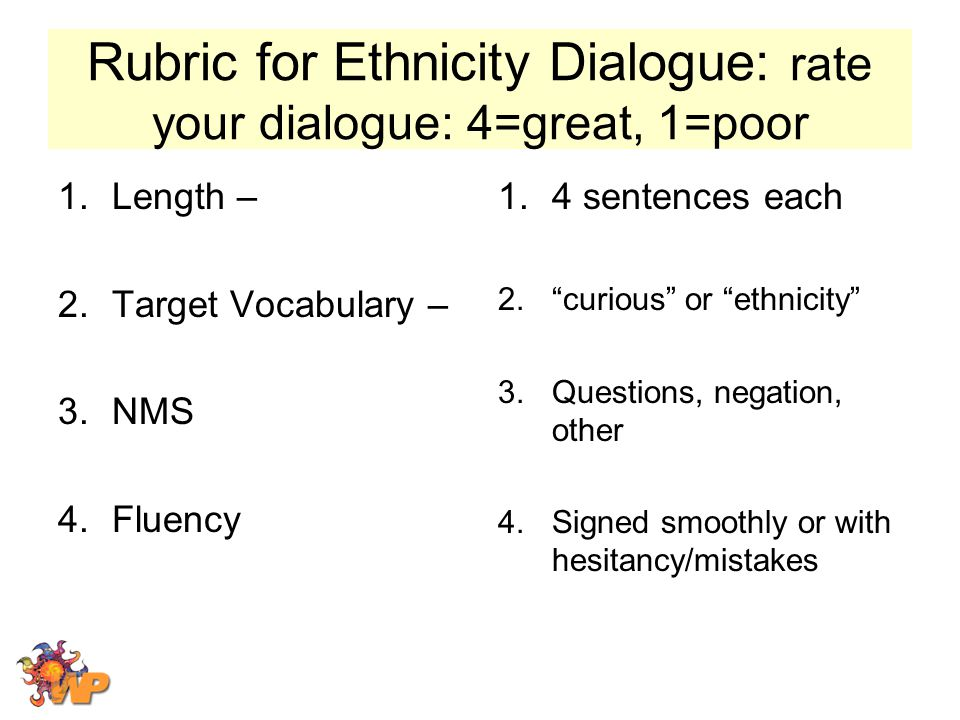 Rubric for Ethnicity Dialogue: rate your dialogue: 4=great, 1=poor