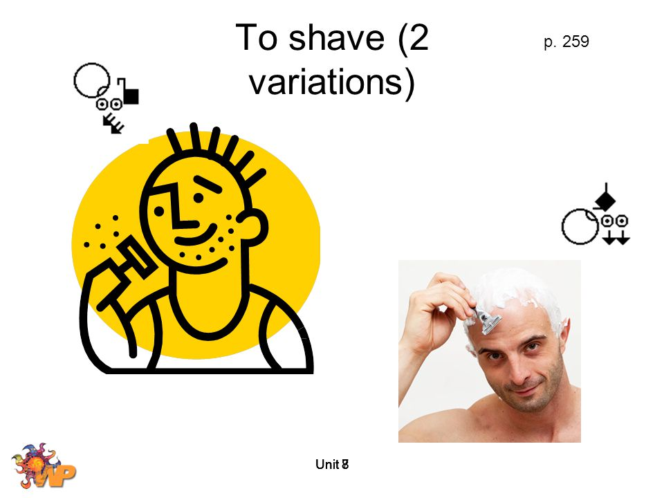 To shave (2 variations) p. 259 Unit 8 Unit 7 Unit 8 Unit 8