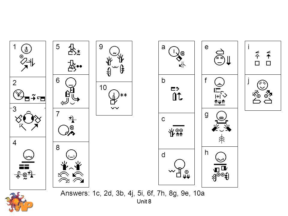 1 5. 9. a. e. i. 6. b. f. j. 2. 10. 3. 7. g. c. 4. 8. h. d. Answers: 1c, 2d, 3b, 4j, 5i, 6f, 7h, 8g, 9e, 10a.
