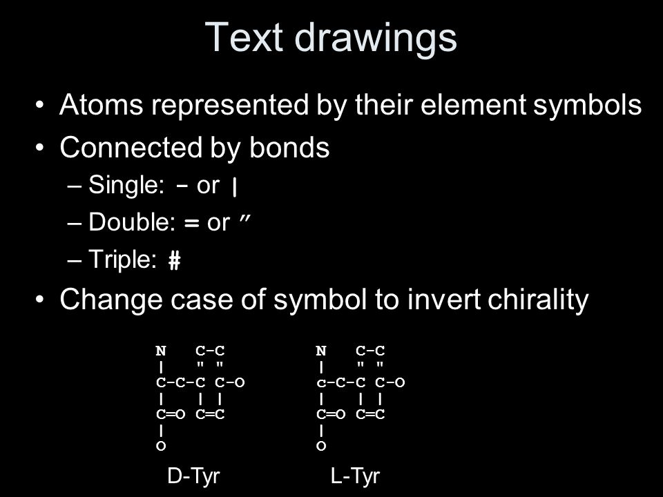 Text drawings Atoms represented by their element symbols