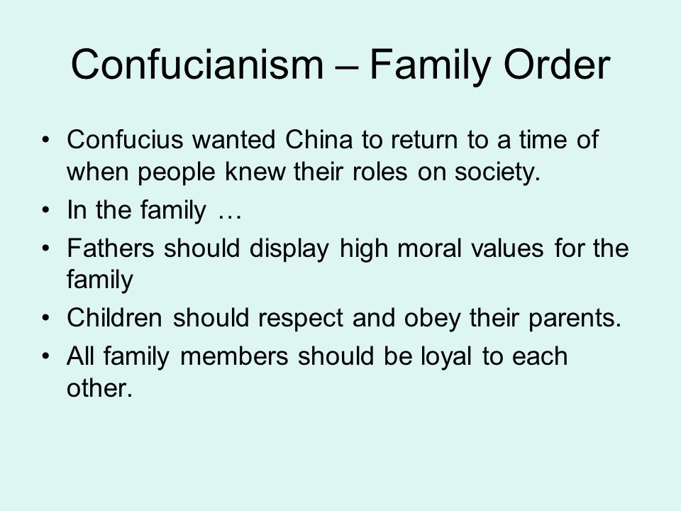 Confucianism – Family Order