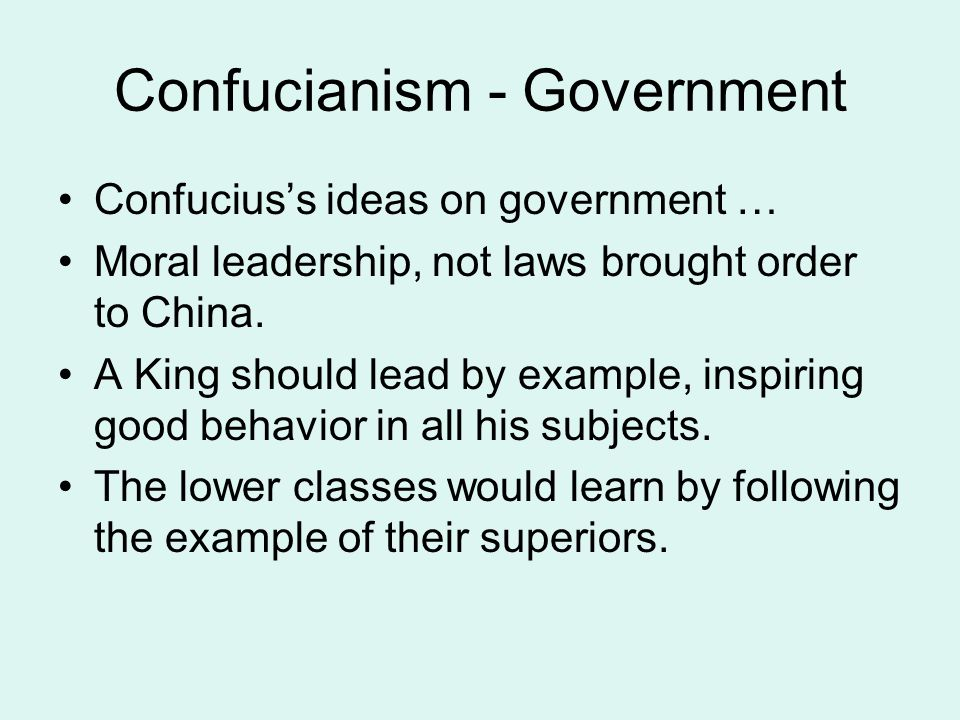 Confucianism - Government