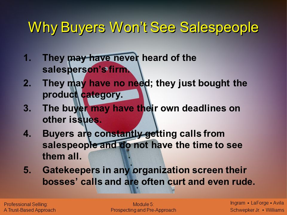 Why Buyers Won't See Salespeople