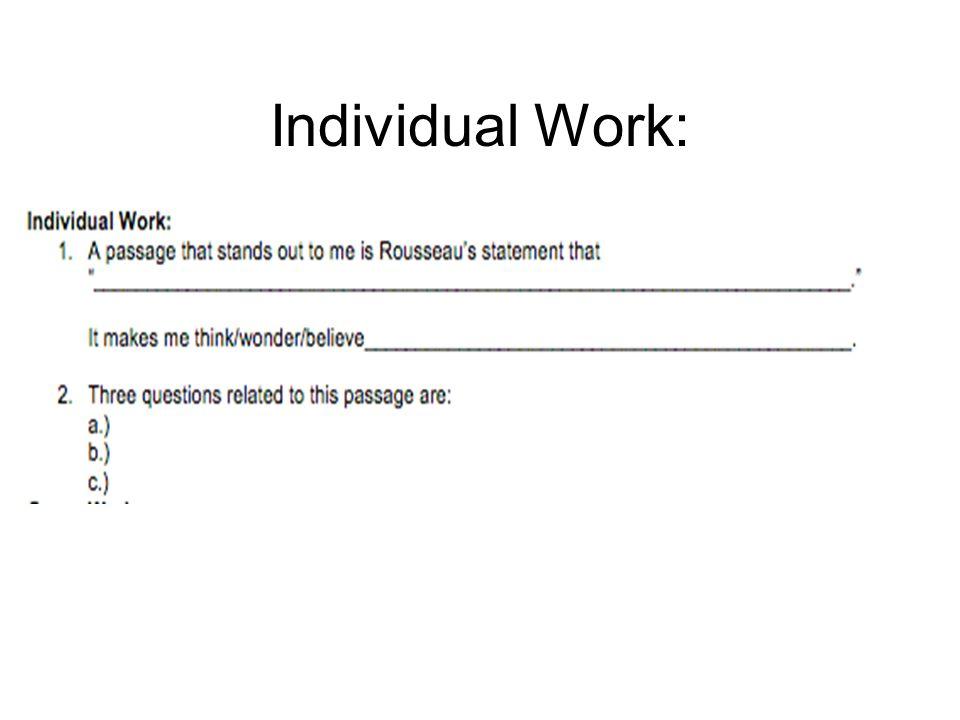Individual Work: