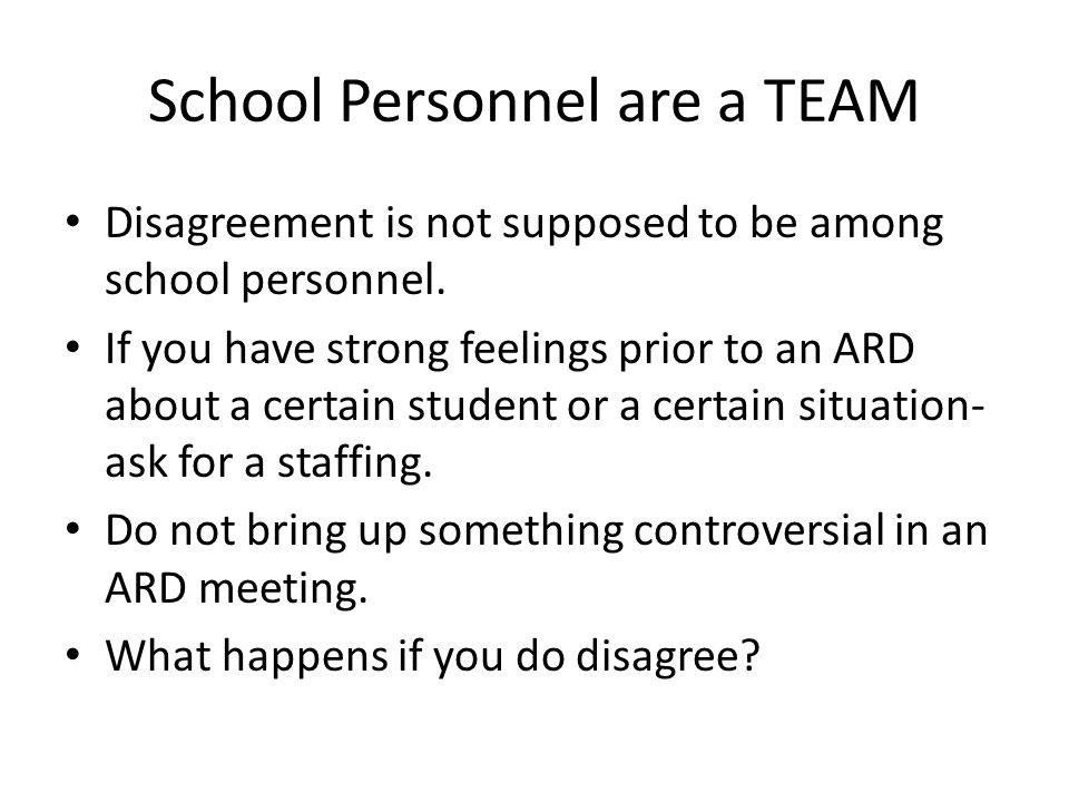 School Personnel are a TEAM