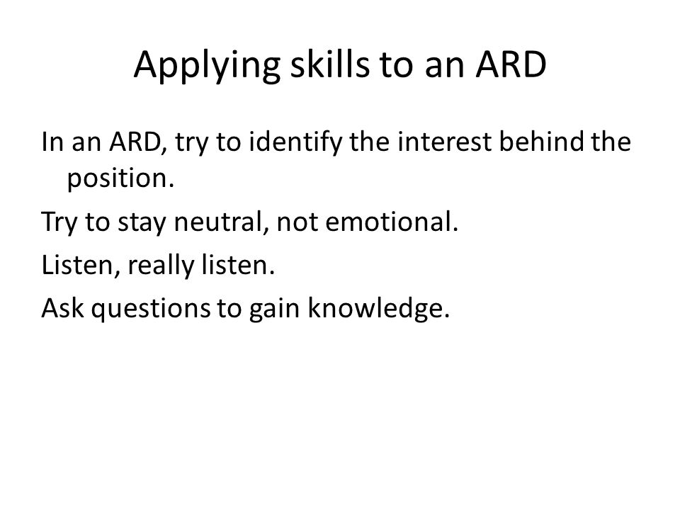 Applying skills to an ARD