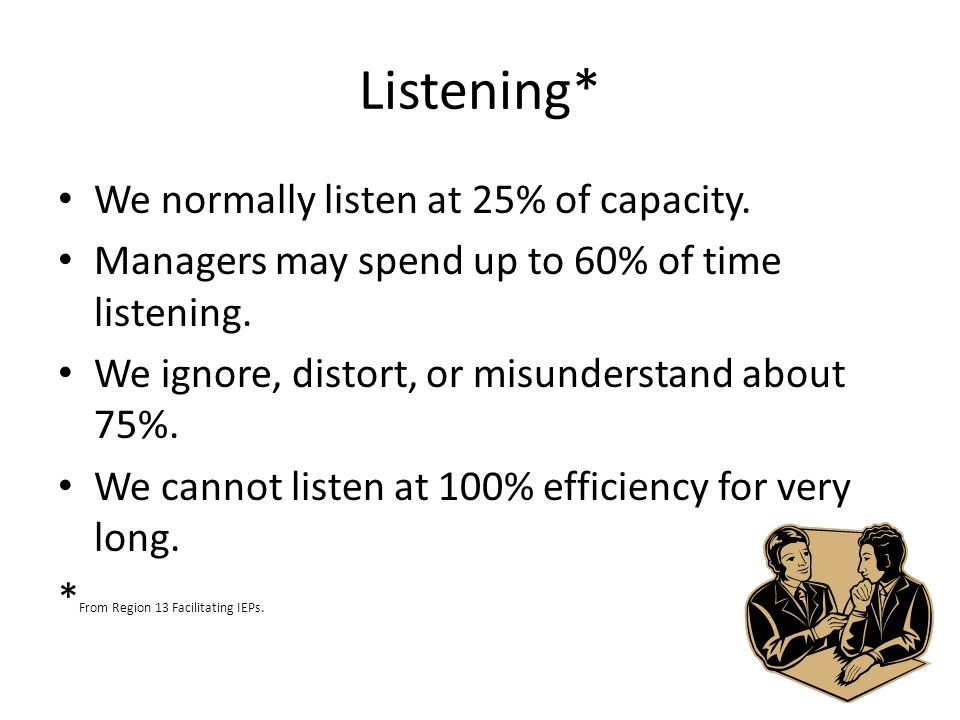 Listening* We normally listen at 25% of capacity.