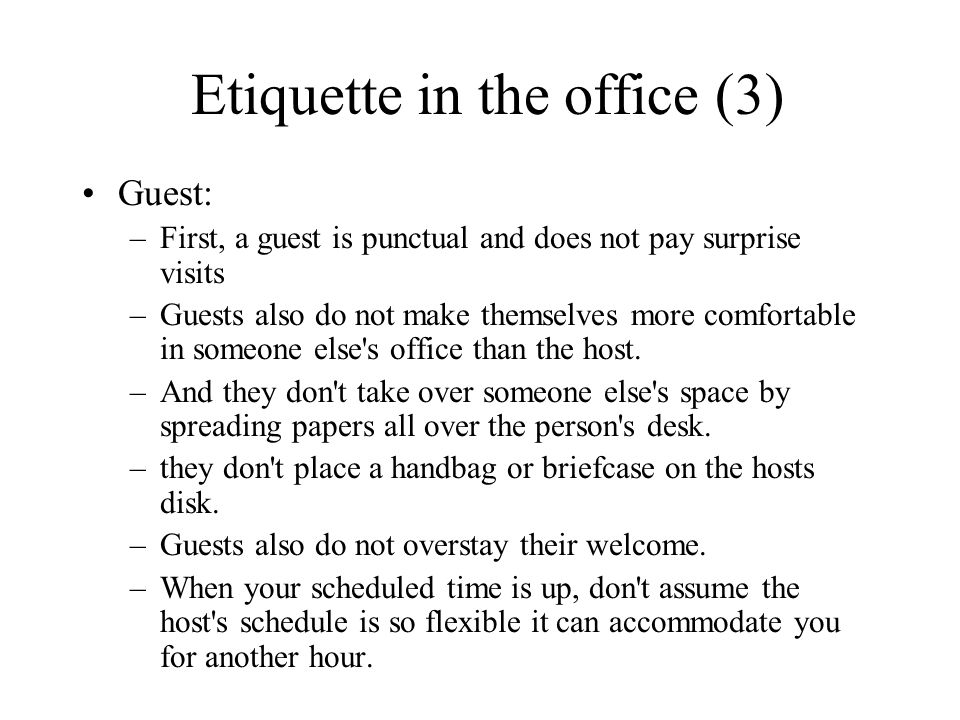 Etiquette in the office (3)
