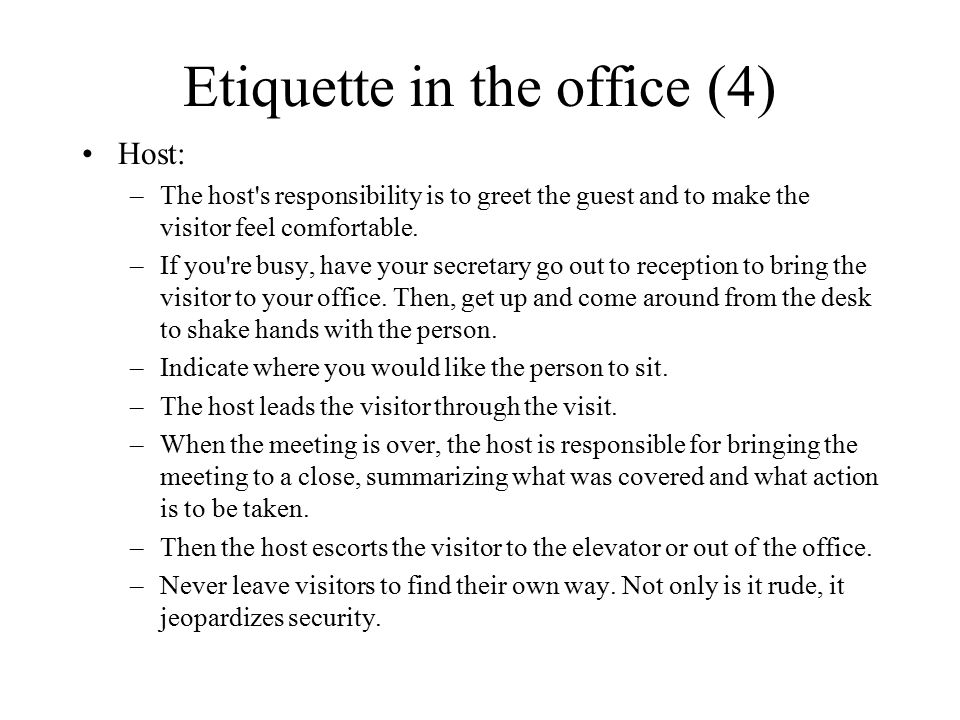 Etiquette in the office (4)