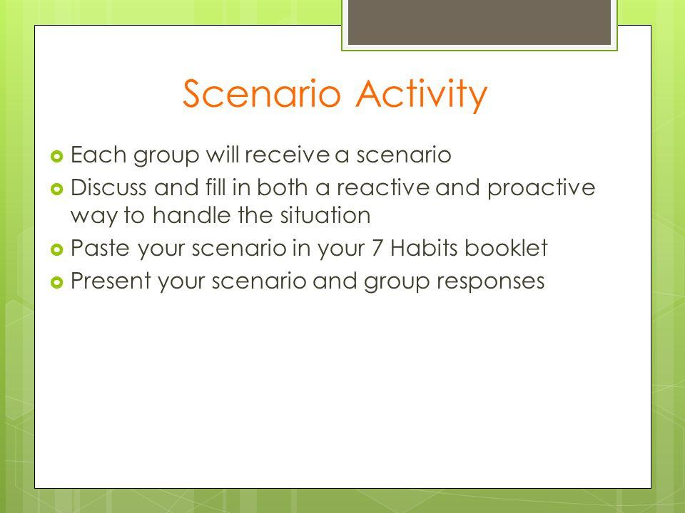 Scenario Activity Each group will receive a scenario