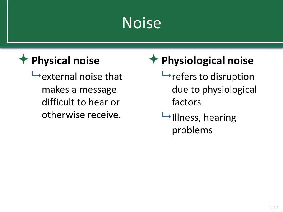 Noise Physical noise Physiological noise