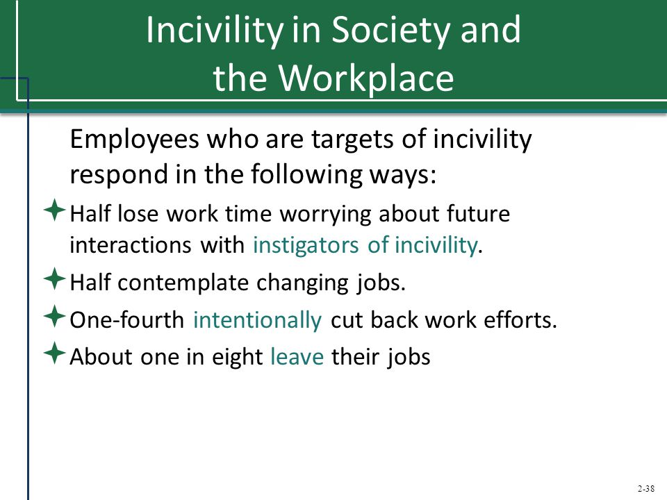 Incivility in Society and the Workplace