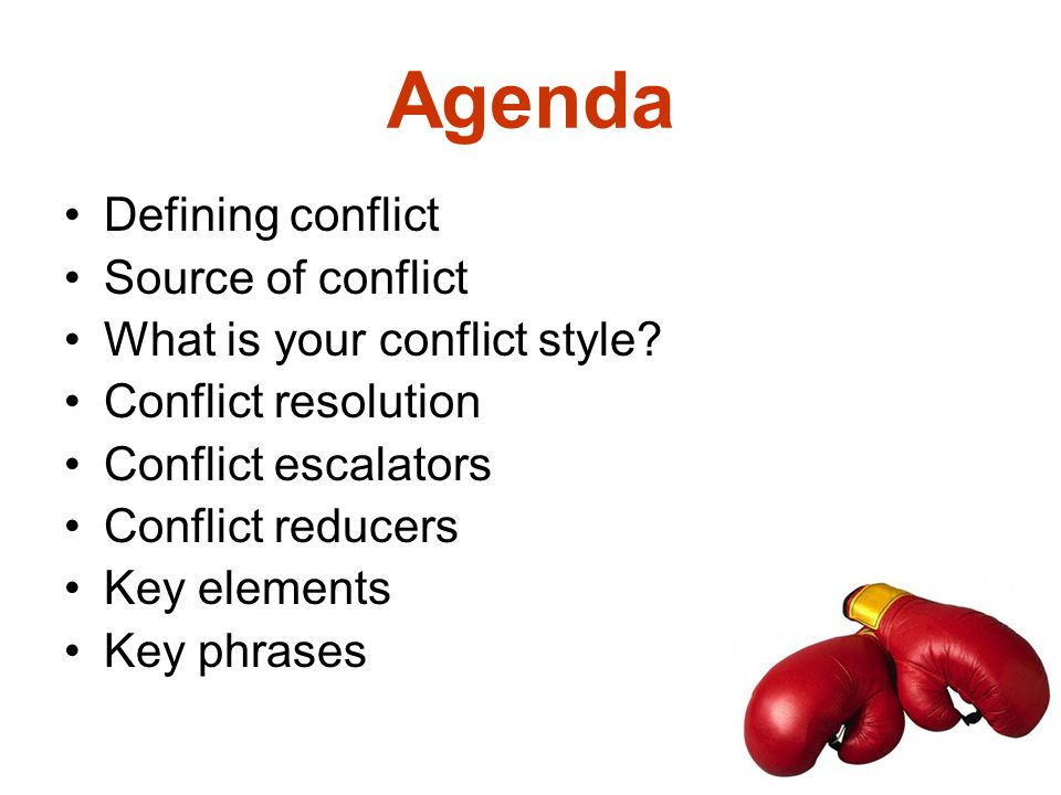 Agenda Defining conflict Source of conflict