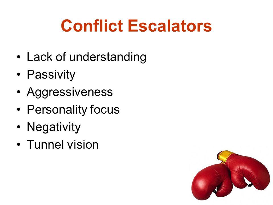 Conflict Escalators Lack of understanding Passivity Aggressiveness