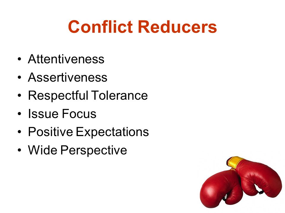 Conflict Reducers Attentiveness Assertiveness Respectful Tolerance