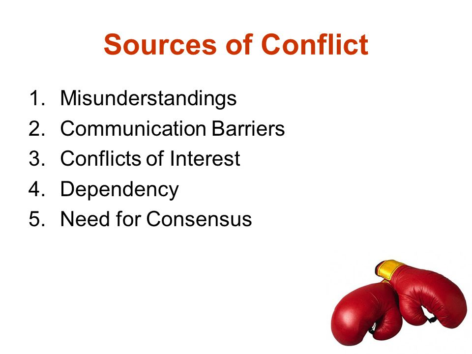 Sources of Conflict Misunderstandings Communication Barriers
