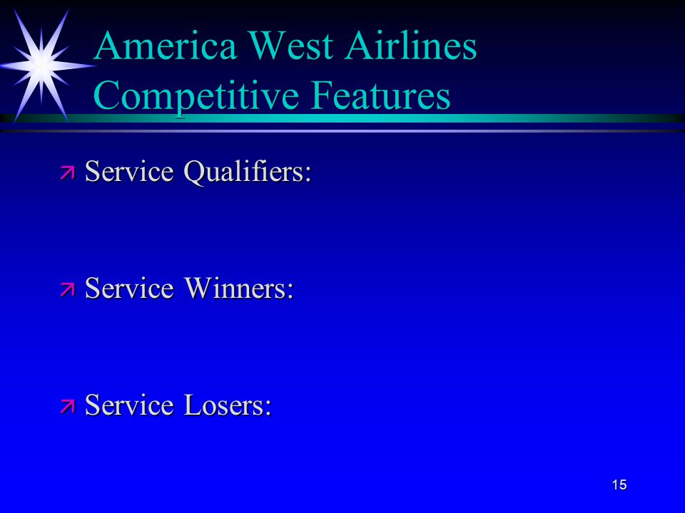 America West Airlines Competitive Features
