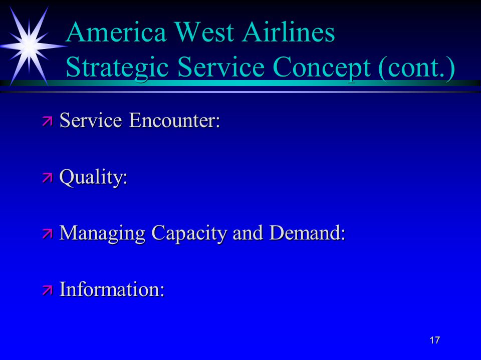 America West Airlines Strategic Service Concept (cont.)