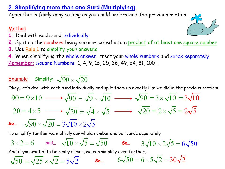 2. Simplifying more than one Surd (Multiplying)