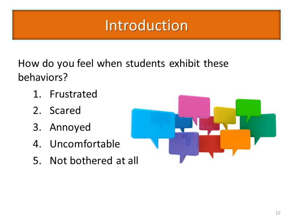 Introduction How do you feel when students exhibit these behaviors