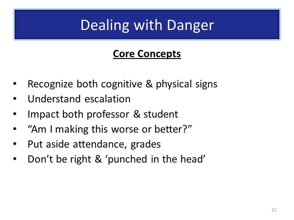Dealing with Danger Core Concepts