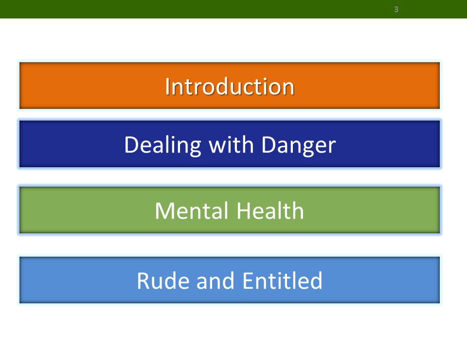 Introduction Dealing with Danger Mental Health Rude and Entitled