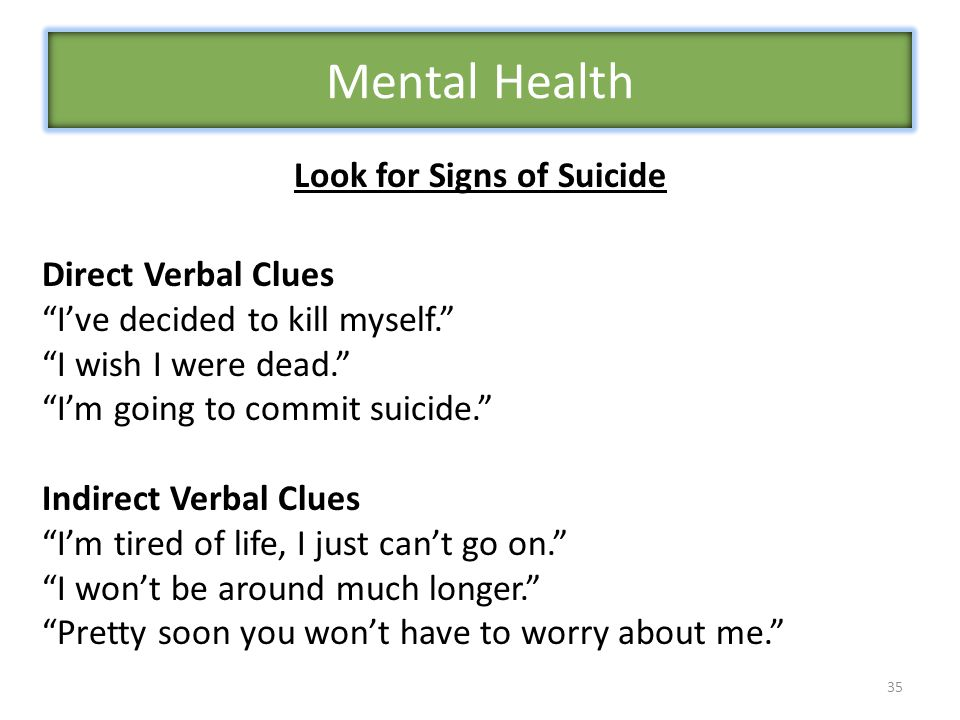 Look for Signs of Suicide