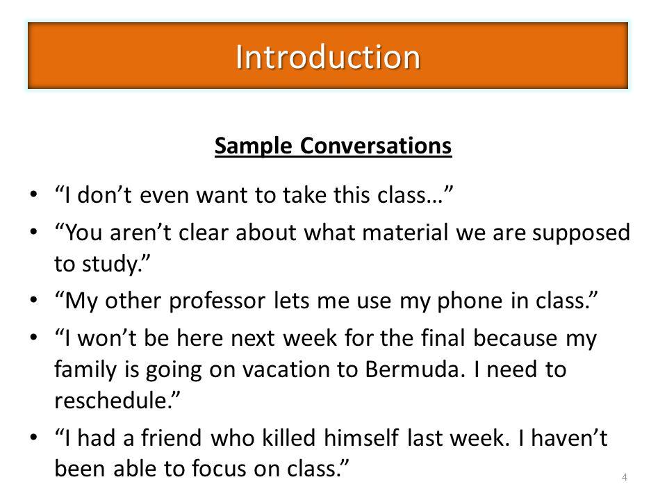 Introduction Sample Conversations