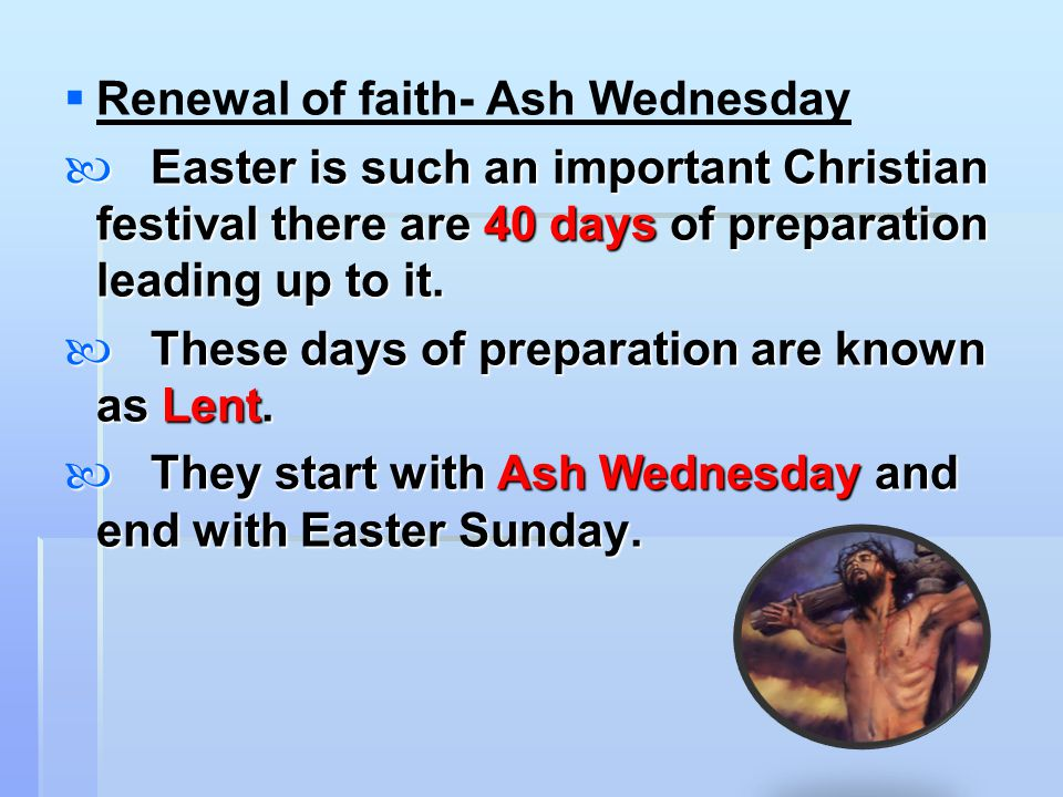 Renewal of faith- Ash Wednesday