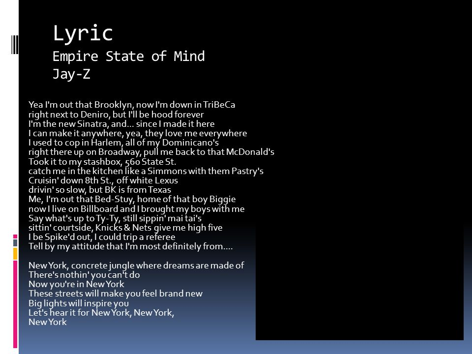 Lyric Empire State of Mind Jay-Z