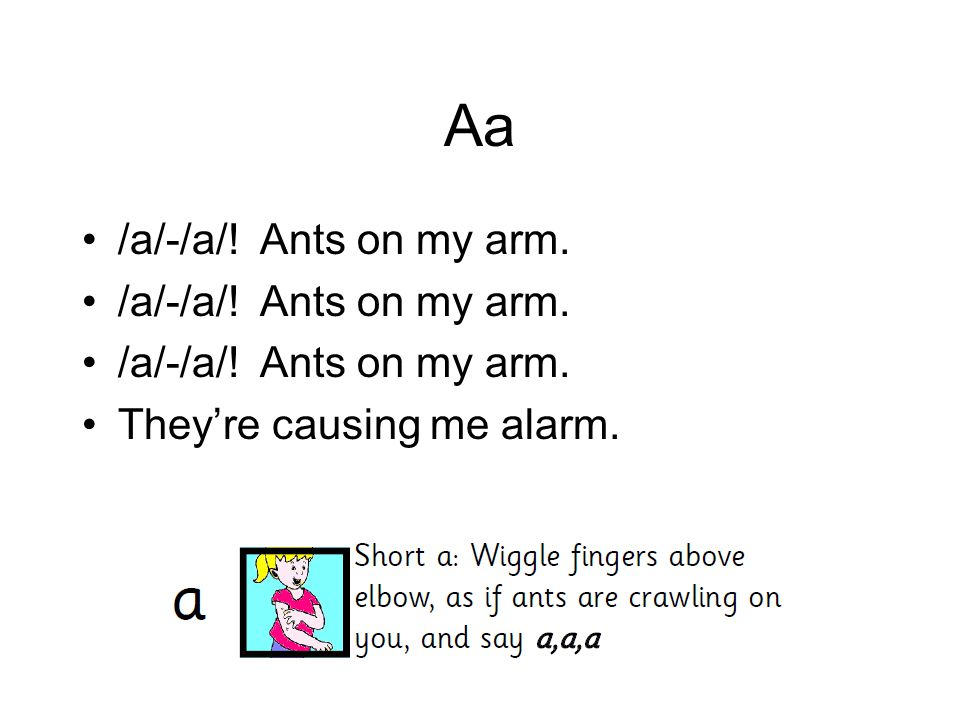 Aa /a/-/a/! Ants on my arm. They're causing me alarm.