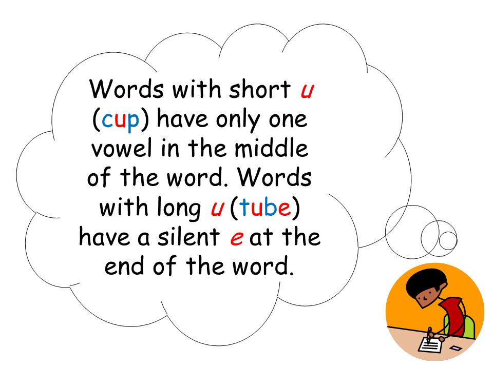 Words with short u (cup) have only one vowel in the middle of the word