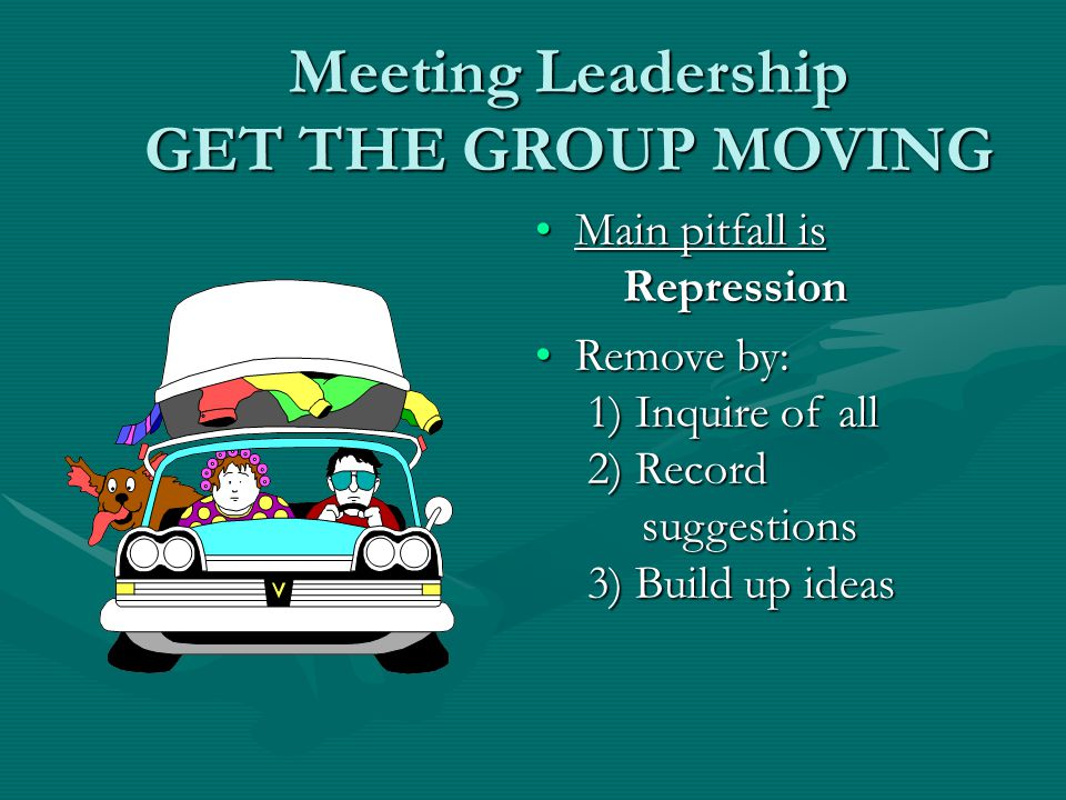 Meeting Leadership GET THE GROUP MOVING