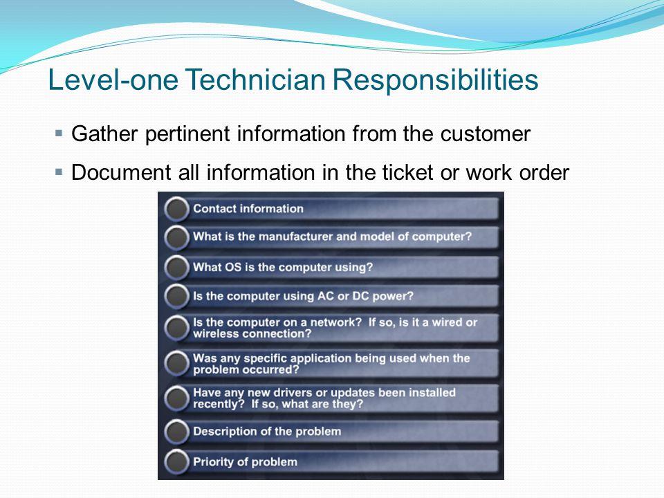 Level-one Technician Responsibilities