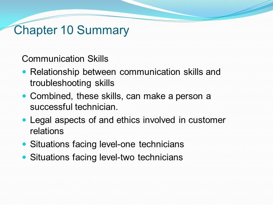 Chapter 10 Summary Communication Skills