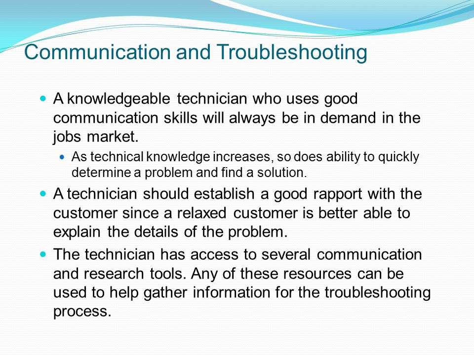 Communication and Troubleshooting