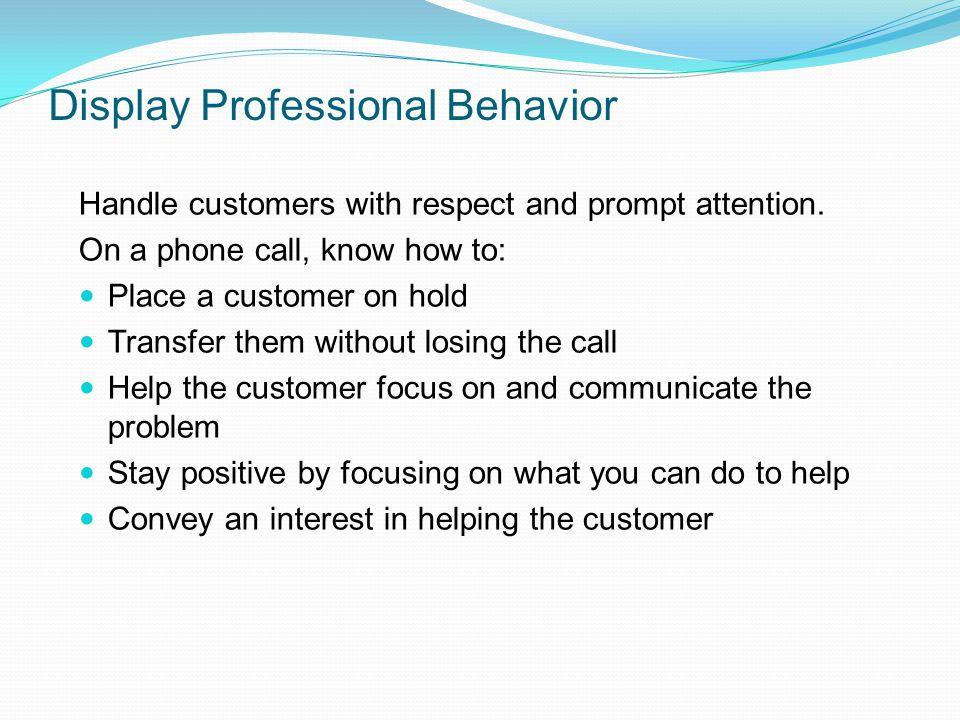 Display Professional Behavior