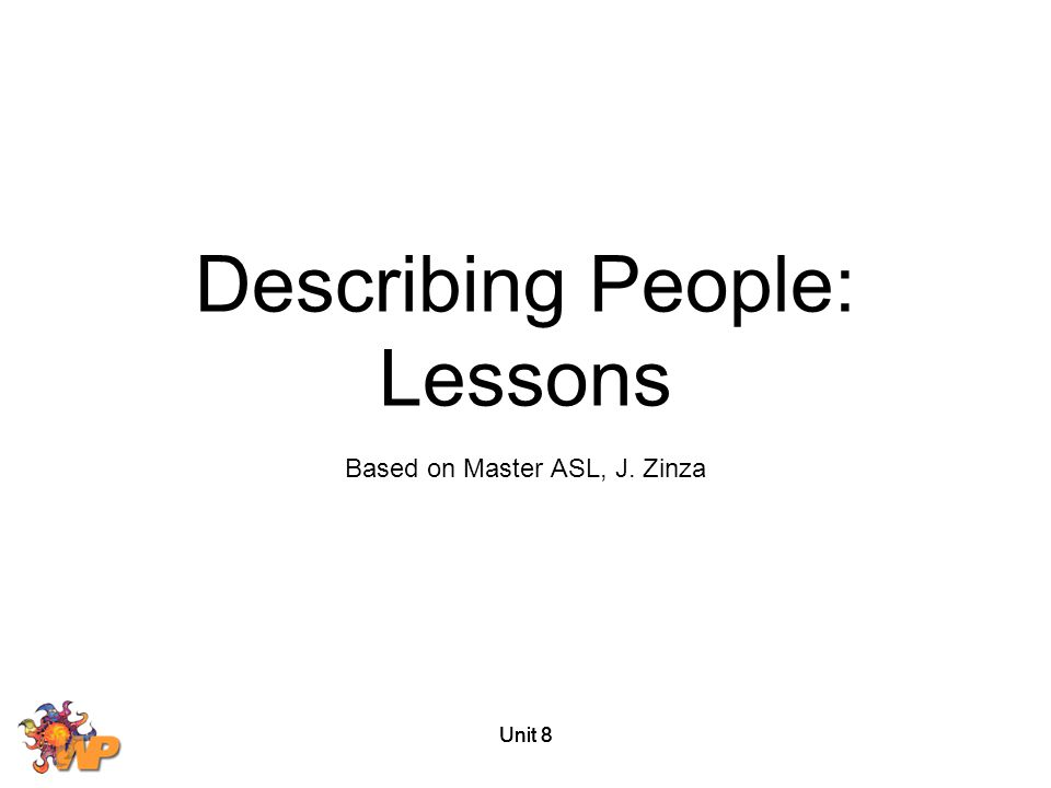 Describing People: Lessons