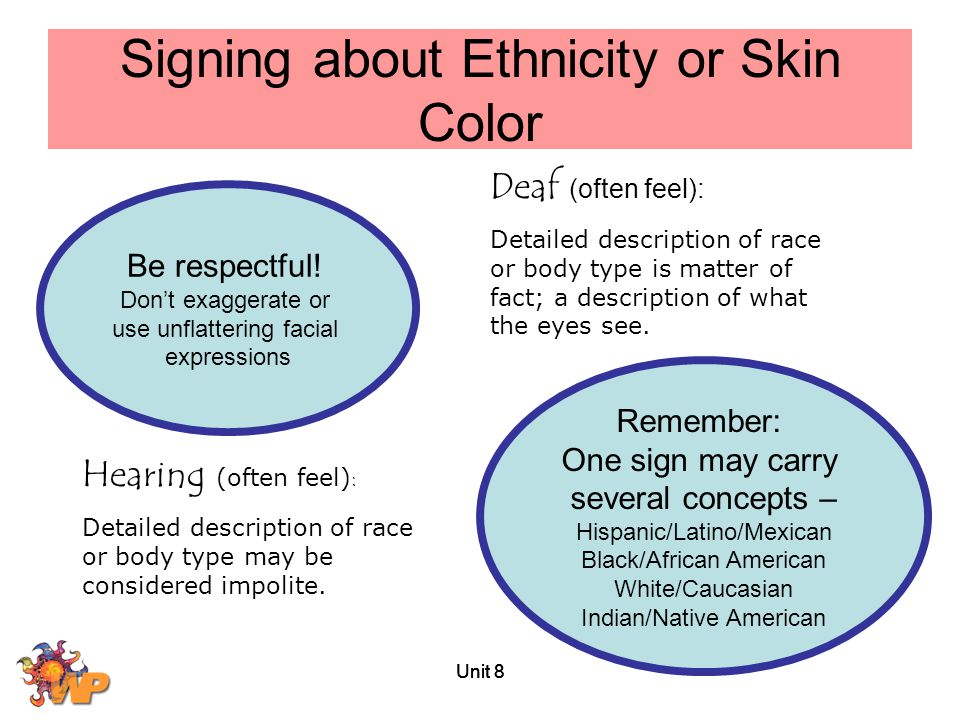 Signing about Ethnicity or Skin Color
