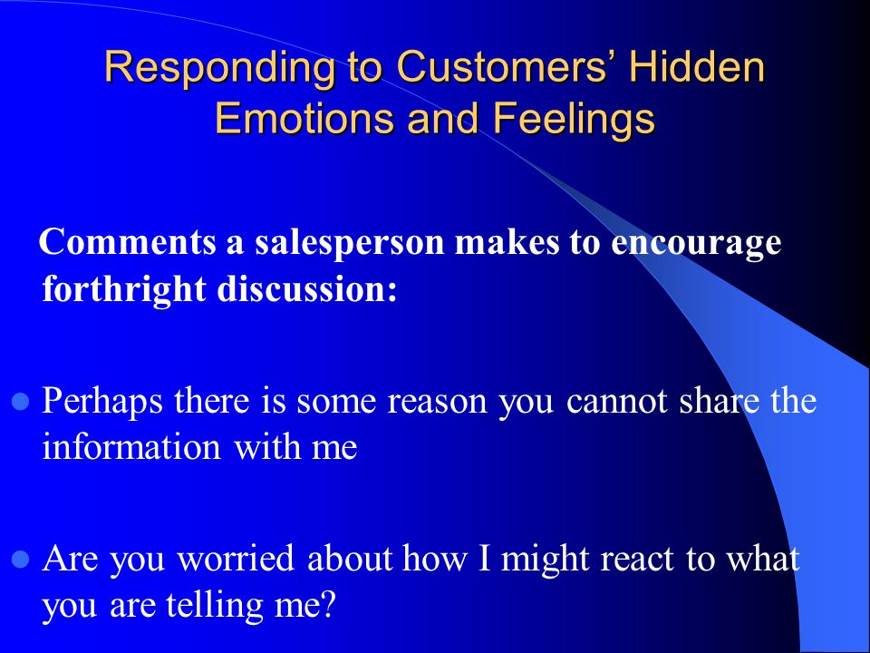 Responding to Customers' Hidden Emotions and Feelings