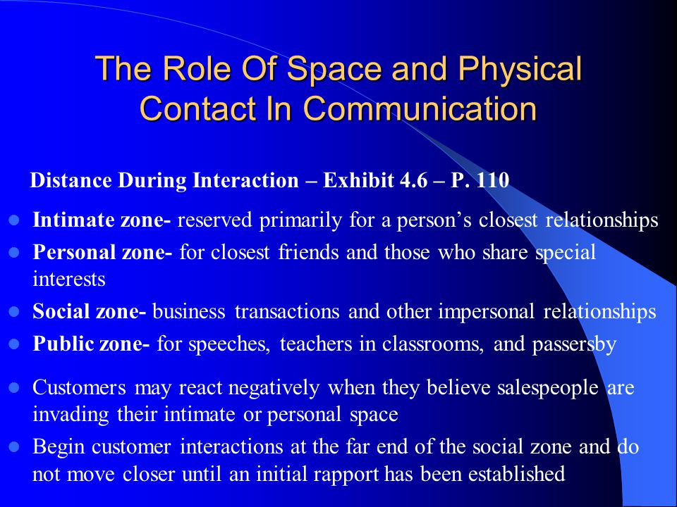 The Role Of Space and Physical Contact In Communication